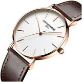 Mens Luxury Simple Ultra Thin Big Dials Leather Band Analog Display Waterproof Quartz Watches (Brown Leather Band-White dial)
