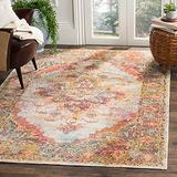 Safavieh Crystal Collection CRS508V Boho Chic Oriental Medallion Distressed Non-Shedding Living Room Bedroom Accent Area Rug, 4' x 6', Cream / Rose