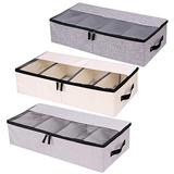 In kds Clothes Shoe Organizer Multifunction Foldable Shoes Container Tall and Fits Beds Underbed Shoe Storage Solution Storage Box with Dust-Proof Lid 4 Compartment 3Pack
