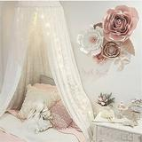 Dix-Rainbow Bed Canopy for Kids Girls Princess White Lace Crib Canopy for Baby Reading Hook Play Castles Round Dome Crib Net Tent - White Lace