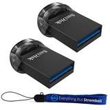 SanDisk 128GB Ultra Fit USB 3.1 Low-Profile Flash Drive (2 Pack Bundle) SDCZ430-128G-G46 128G Pen Drive - with (1) Everything But Stromboli (TM) Lanyard