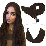 YoungSee Hair Extensions I Tip Human Hair 18inch Keratin I Tip Hair Extensions Human Hair Dark Brown #4 Stick Tip Hair Extensions Fusion Remy Hair Extensions Human Hair 50strands 50gram