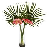Nearly Natural Fan Palm and Calla Lily Arrangement Artificial Plant Pink
