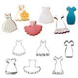 Dress Cookie Cutter Set- Set of 6 -Include Braces Skirt, Wedding Dress, Black Dress, Little Girl Dress, Tutu and Princess Dress - Stainless Steel
