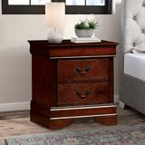 Charlton Home® Reay 2 - Drawer Solid Wood Nightstand Wood in Brown/Red, Size 23.75 H x 21.63 W x 15.75 D in   Wayfair