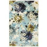 Red Barrel Studio® Fedna Hydrangea Blooms Aqua Area Rug Polyester in Blue/Brown, Size 120.0 H x 96.0 W x 0.32 D in | Wayfair
