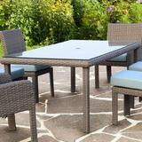 Bay Isle Home™ Sperber Glass Dining Table Glass/Wicker/Rattan in Gray, Size 30.0 H x 72.0 W x 42.0 D in | Wayfair C14C401472B2496E9769D386C158A85E