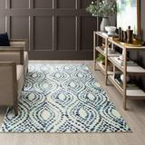 Bungalow Rose Poston Geometric Navy/White Area Rug Polyester in Blue/Brown/Navy, Size 96.0 W x 0.41 D in | Wayfair 124D7DE1D8A74DD1A883E2677BDFDAF8