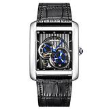 PRINCE GERA Men's Square Watch Automatic Tourbillon Business Wristwatch Silver Case Black Leather Band