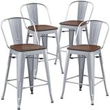 TONGLI Counter Height Stool with Backs Counter Stools Metal Bar Stools Set of 4 Dining Kitchen Chairs High Back 24 Inches Bar Chairs Stools Silver