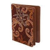 Cotton batik and faux leather card case, 'Brown Star'