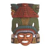 Hand Painted Ceramic Mayan Wall Mask from Mexico 'Mayan Pyramid'