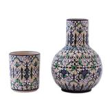 Ceramic carafe and cup set 'Green Valley' (pair)