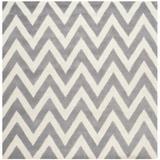 Ebern Designs Daveney Chevron Handmade Tufted Wool Silver/Ivory Area Rug Wool in Brown/White, Size 48.0 W x 0.63 D in   Wayfair EBND7090 41035308