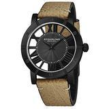 Stuhrling Original Black PVD Mens Minimalist Vintage Watch with Leather Strap - Swiss Quartz Ronda Mvmt (Brown)