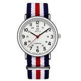 Unisex Noctilucent Watch Men Quartz Watch Nylon Strap Band Women Wristwatch Luminous Dial Wrist Watch (White BWRWB)