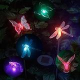 6 Pcs Solar Garden Light Colour Changing LED Dragonfly, Butterfly & Hummingbird Wireless Solar Garden Stake Lights Decor for Fence, Yard, Gardens, Flowerbed