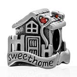Sweet House Charm 925 Sterling Silver Family Charm Home Charm Love Charm for Pandora Bracelet (F)
