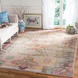 Safavieh Crystal Collection CRS517P Boho Tribal Distressed Non-Shedding Stain Resistant Living Room Bedroom Area Rug, 9' x 12', Light Grey / Purple
