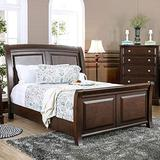 Furniture of America Hazelo Contemporary Brown Cherry Curved Panel Sleigh Bed Queen
