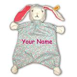 Steiff Personalized Blossom Babies Rabbit Floral Print Pink Comforter Snuggle Baby Blanket - 13 Inches