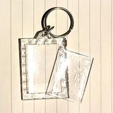 King&Pig 50PCS Key Chains Key Rings with Transparent Clear Picture Photo Frames Can Open Keychains(Rectangle with Lacework)