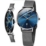 OLEVS Watches for Women Fashion Casual Japanese Quartz Watch Blue Dial Stainless Steel Mesh Band Wrist Watch for Women Luxury Dress Watch Small Face Water Resistant Watch with Date,reloj de Mujer