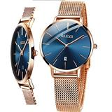 Thin Watches for Women Rose Gold Stainless Steel Band Casual Woman Watch Blue Dial Face Waterproof Dress Wrist Watch,OLEVS Luxury Simple Female Watch with Day,Women Slim Watch,relojes de Mujer