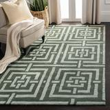 Safavieh Wyndham Geometric Handmade Tufted Wool Green Area Rug Wool in Brown/Green, Size 96.0 H x 60.0 W x 0.63 D in | Wayfair WYD375B-5