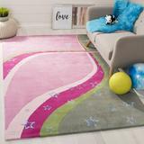 Safavieh kids Handmade Tufted Pink/Green Area Rug Viscose/Wool in White, Size 60.0 H x 36.0 W in | Wayfair SFK338A-3