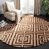 Safavieh Wyndham Geometric Handmade Tufted Wool/Tan Area Rug Wool in Brown, Size 84.0 H x 84.0 W x 0.63 D in | Wayfair WYD375A-7R