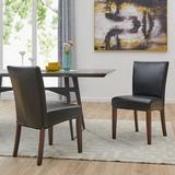 Millwood Pines Yonkers Side Chair Faux Leather/Wood/Upholstered in Black, Size 36.0 H x 18.5 W x 24.0 D in | Wayfair