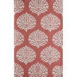 Momeni Veranda Damask Hand Hooked Coral Indoor/Outdoor Area Rug Polypropylene in Brown/Pink, Size 96.0 H x 60.0 W x 0.5 D in   Wayfair 39425289721