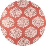 Momeni Veranda Damask Hand Hooked Coral Indoor/Outdoor Area Rug Polypropylene in Brown/Pink, Size 108.0 H x 108.0 W x 0.5 D in   Wayfair