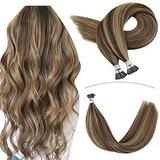 Youngsee I Tip Extensions Human Hair 16inch Pre Bonded Hair Extensions Highlighted Dark Brown Mixed with #27 Blonde Remy I Tip Hair Extensions Fusion Human Hair Extensions 100strands 50gram