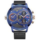Men Casual Watches Chronograph, Dual Time Big Dial Sport Man Watch with Date Automatic Calendar and Genuine Leather Band-Blue