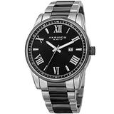 Father's Day Gift - Akribos Men's Quartz Two-Tone Case with Silver-Tone Accented Black Dial on Two-Tone Stainless Steel Bracelet Watch AK936TTB