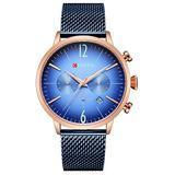 Fashion Casual Business Sport Chronograph Date Mesh Steel Band Waterproof Mens Quartz Wrist Watch (Black Blue)