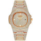 Luxury Unisex Watches Diamond Gold Watches Quartz Calendar Luminous Bezel Luxury Watch (Silver White Blue)