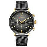 Fashion Casual Business Sport Chronograph Date Mesh Steel Band Waterproof Mens Quartz Wrist Watch (Black Gold)