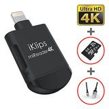 ADAM elements iKlips miReader MicroSD 4K Card Reader Compatible for iPhone iPad External Memory Storage Charger, Store View Edit Record 4K Video from GoPro, Drones, Camera (with 64GB microSD Card)