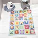 "Clearance Home Dynamix ECEM06 Area Rugs, 4'11""X6'6"", Alphabet Blocks Blue"
