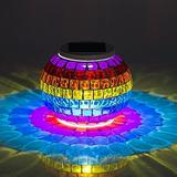 Mosaic Glass Solar Table Light,WONFAST Waterproof Color Changing Mood Night Lights Solar Outdoor Table Lamp for Bedroom Party Garden Patio Yard Decoration Lighting (Rainbow)