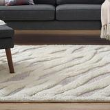 Modway Current Abstract Wavy Striped 5x8 Chenille Blend Area Rug in Ivory and Light Gray