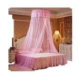 Xshelley Round Double-Layer lace Curtain, Dome Bed top Cover, net Tent, Princess net Height 270cm, Super Wide, Super Long, Super Container, (Pink)