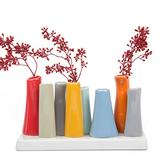 Chive - Pooley 2, Unique Rectangle Ceramic Flower Vase, Small Bud Vase, Decorative Floral Vase for Home Decor, Table Top Centerpieces, Arranging Bouquets, Set of 8 Tubes Connected (Red)