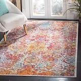 Safavieh Crystal Collection CRS505A Boho Chic Oriental Distressed Non-Shedding Stain Resistant Living Room Bedroom Area Rug, 3' x 5', Light Blue / Orange