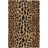 Dash and Albert Rugs Leopard Animal Print Hand Hooked Wool Brown/Black Area Rug Wool in White, Size 36.0 H x 24.0 W x 0.25 D in   Wayfair RDA372-23