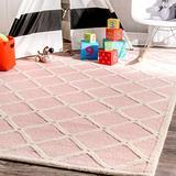 "nuLOOM Takako Hand Hooked Wool Area Rug, 8' 6"" x 11' 6"", Pink"