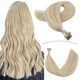 YoungSee Blonde I Tip Hair Extensions Human Hair 24inch Fusion Human Hair Extensions I Tip Hair Ash Blonde Highlights with Blonde Remy Pre Bonded Stick Tip Hair Extensions 1g/s 50g